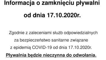 Informacja o zamknięciu pływalni od 17 października 2020 r do odwołania.